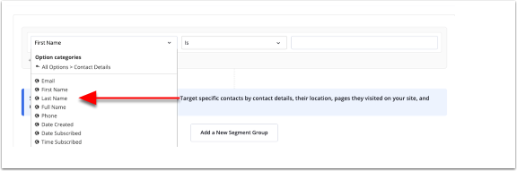 Segment builder option categories
