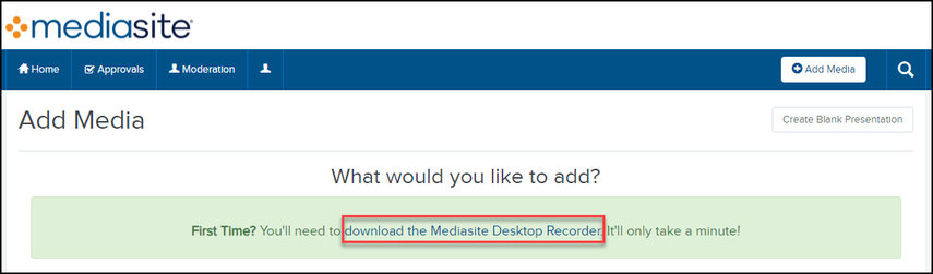 Click on the download the Mediasite Desktop Recorder link