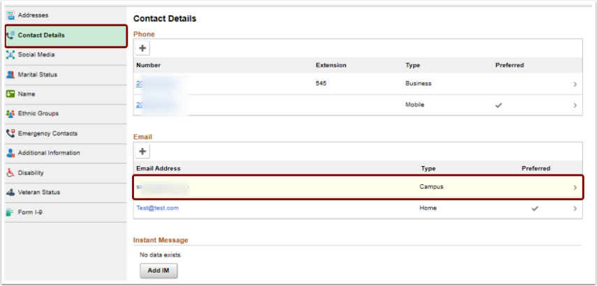 contact details remove email address selection