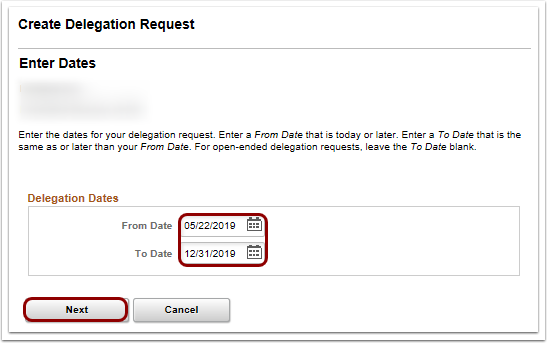 Enter dates on create delegation request page
