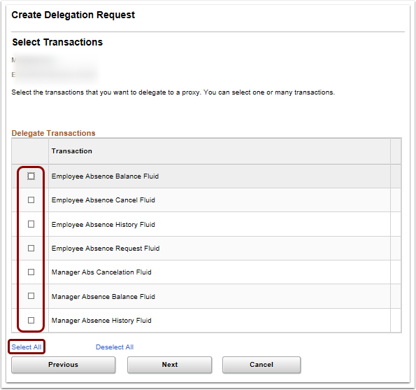 Select Transactions section