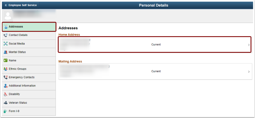 Personal Details addresses homepage