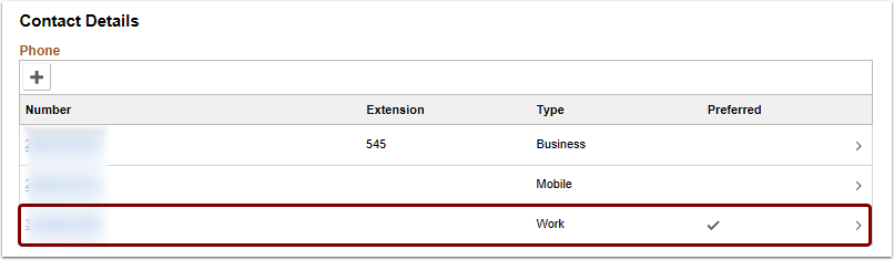 select existing phone number to update