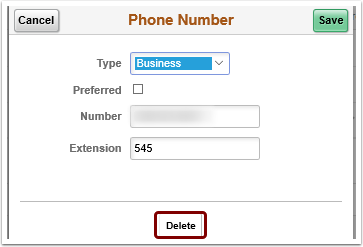 delete phone number phone number pagelet