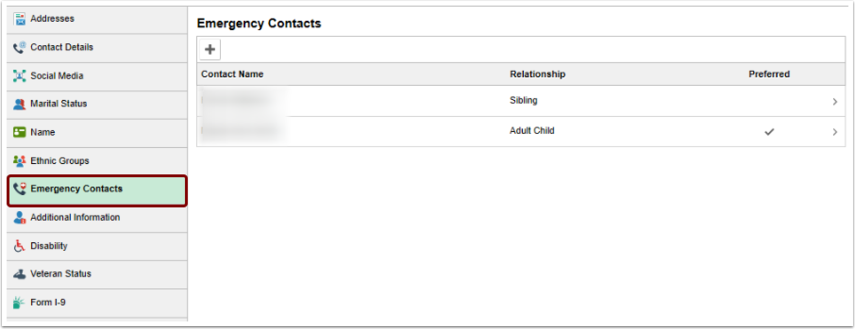 Emergency Contacts homepage