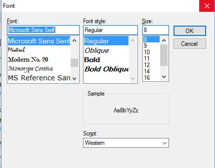 Changing Font