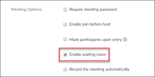 Click on Enable Waiting room
