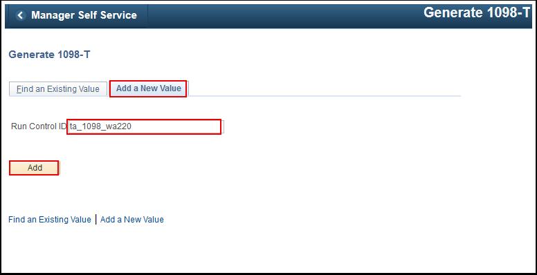 Generate 1098 T Add a New Value tab
