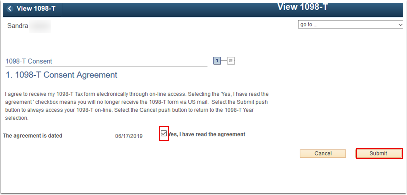 1098 T Consent Agreement page