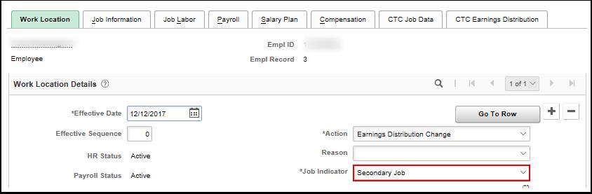 Secondary Job work location