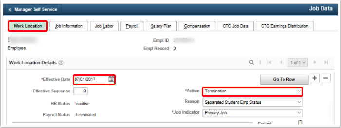 confirm termination on work location tab