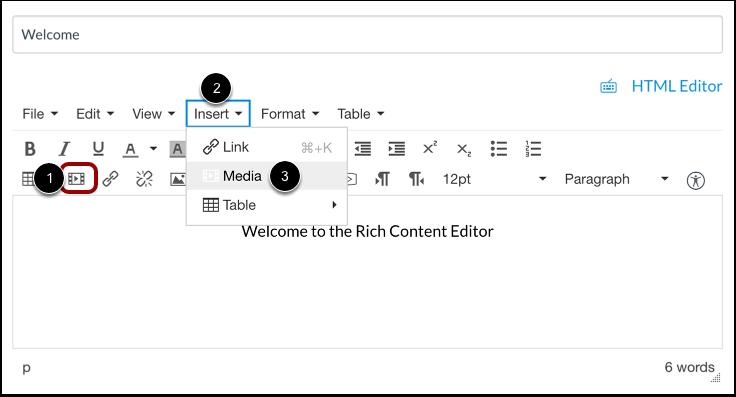 Open Insert Media Tool