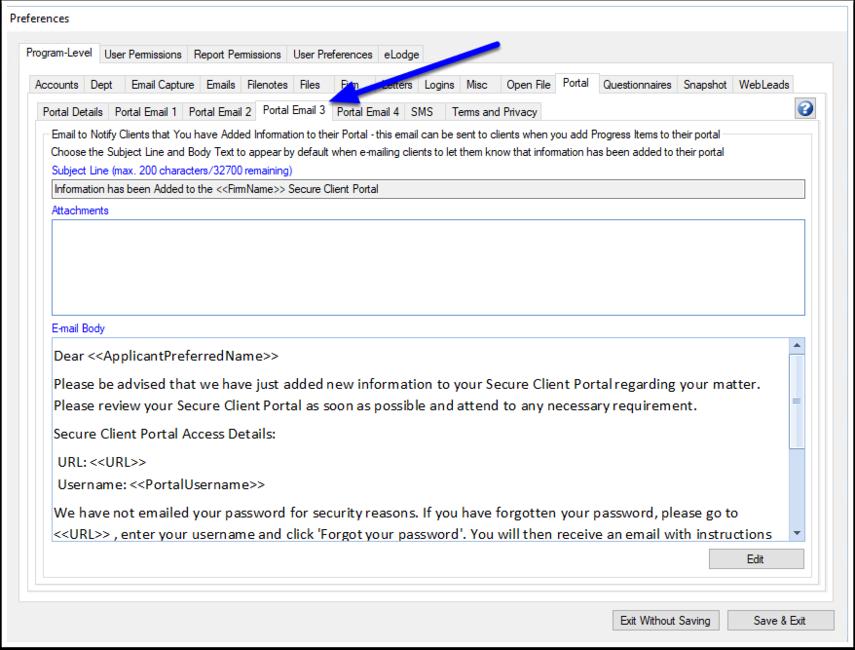 Set the default Portal Client Logon information email