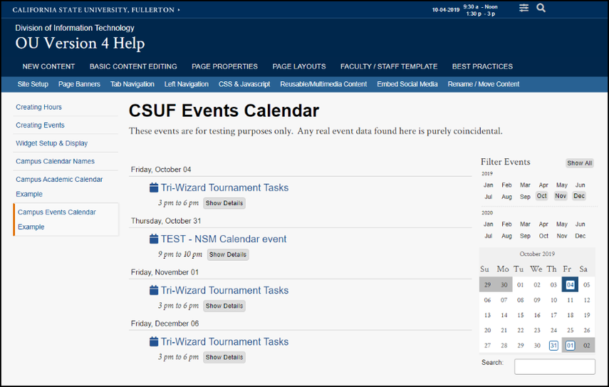 Campus Events Calendar Example page