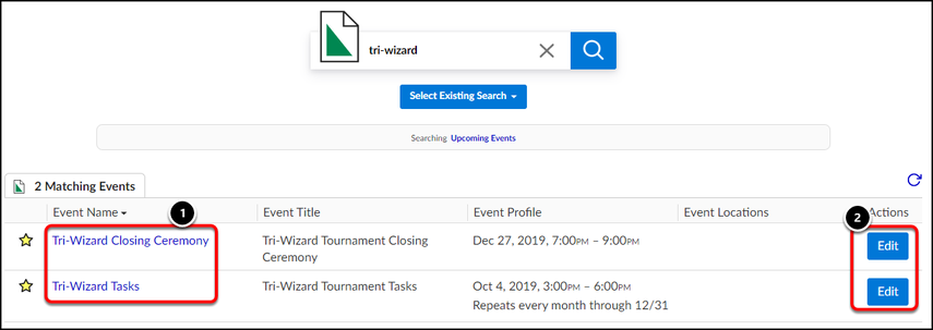 event search results