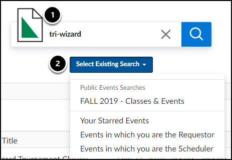 search events screen