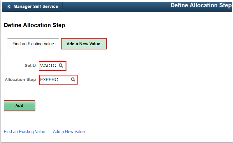Define Allocation Step Add a New Value tab