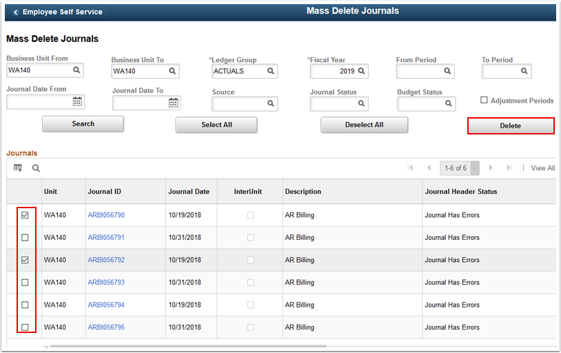 Journals section