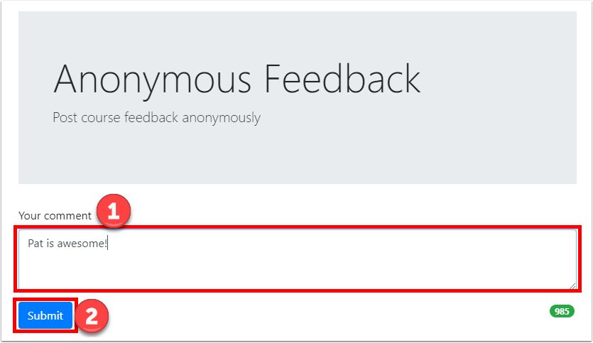 "Enter feedback and click ""Submit"""