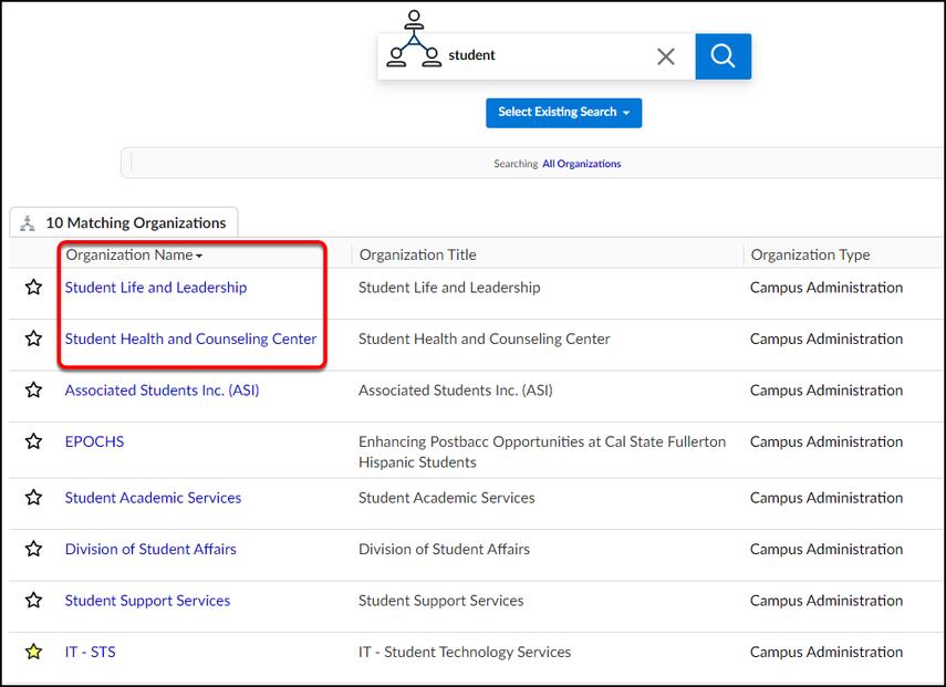 organization search results