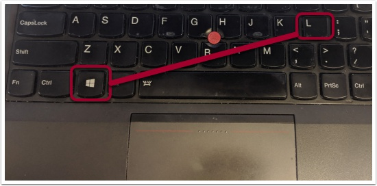 Depicts PC lock keyboard shortcut
