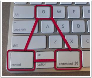 Depicts Mac lock keyboard shortcut