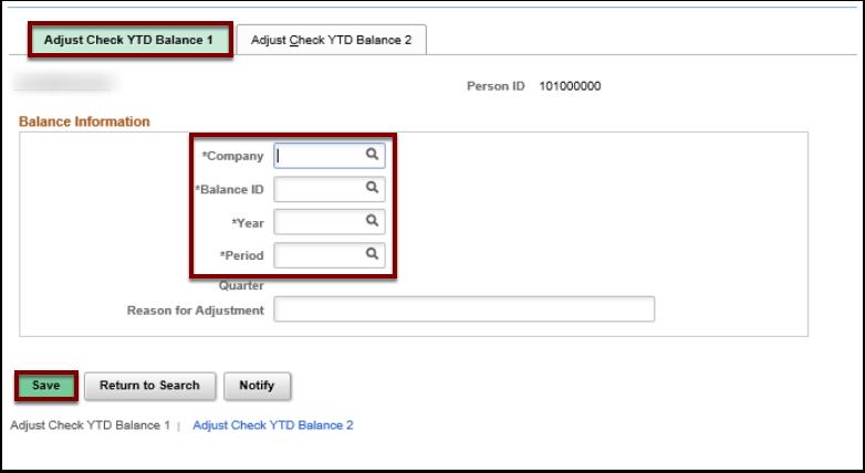Adjust Check YTD Balance 1 tab and page