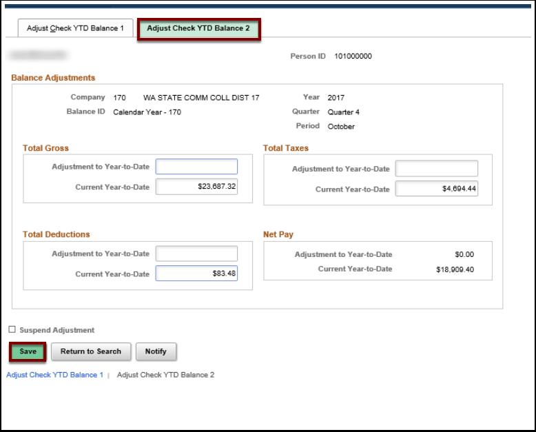 Adjust Check YTD Balance 2 tab and page