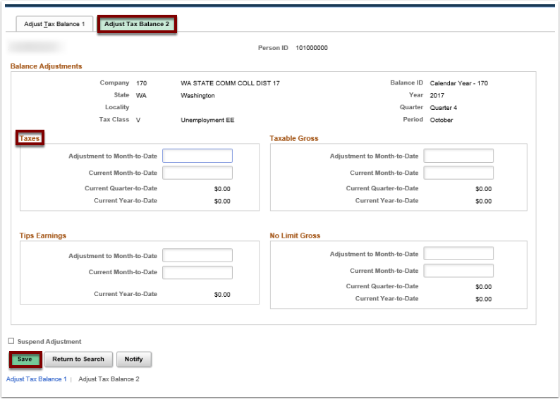 Adjust Tax Balance 2 tab and page