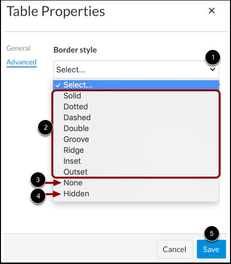 Edit Border Style