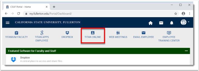 CSUF Portal with Titan Online selected