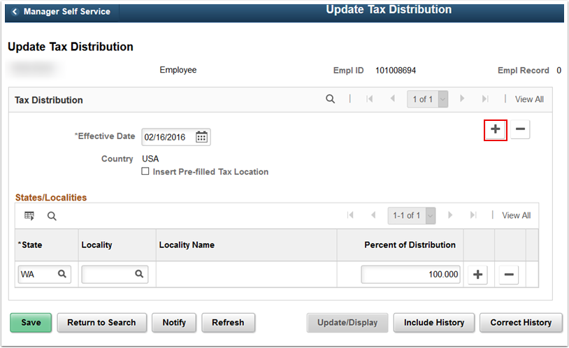 Update Tax Distribution page