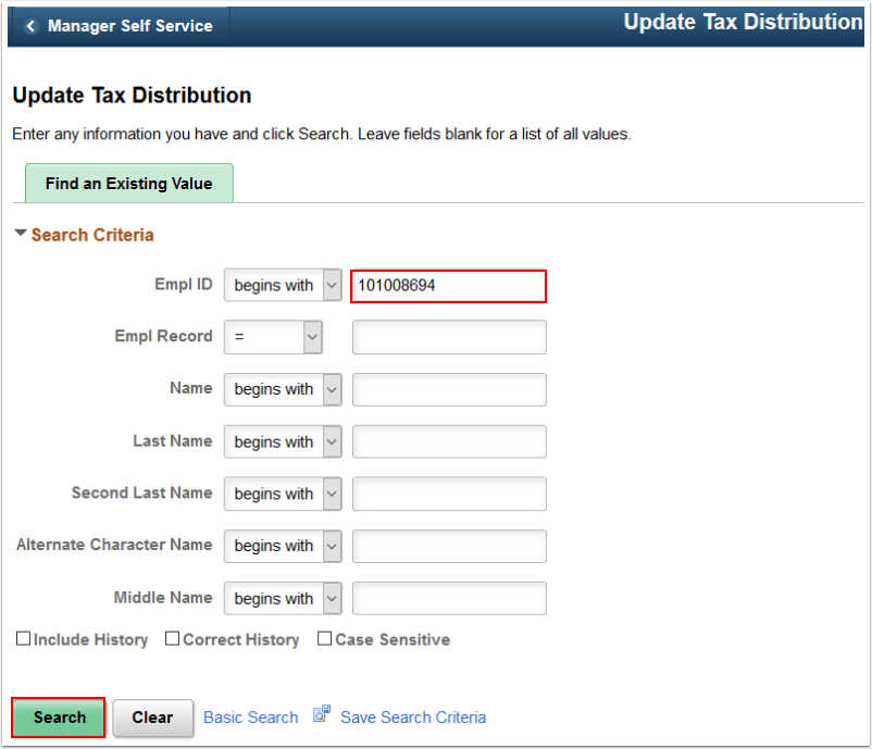 Update Tax Distribution search page