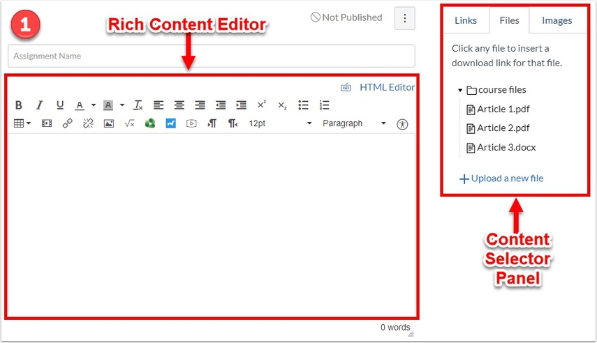 Rich Content Editor and Content Selector Panel