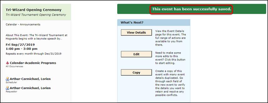 Event saved