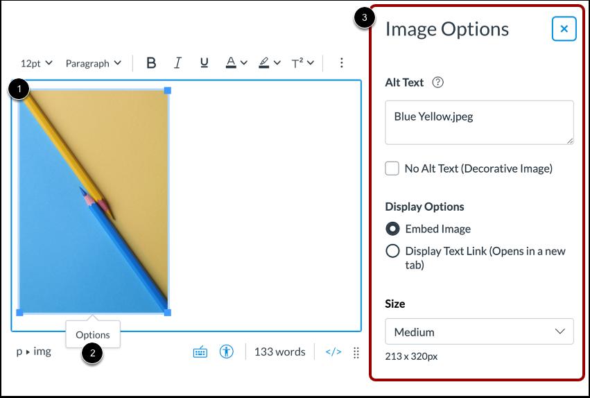 Open Image Options