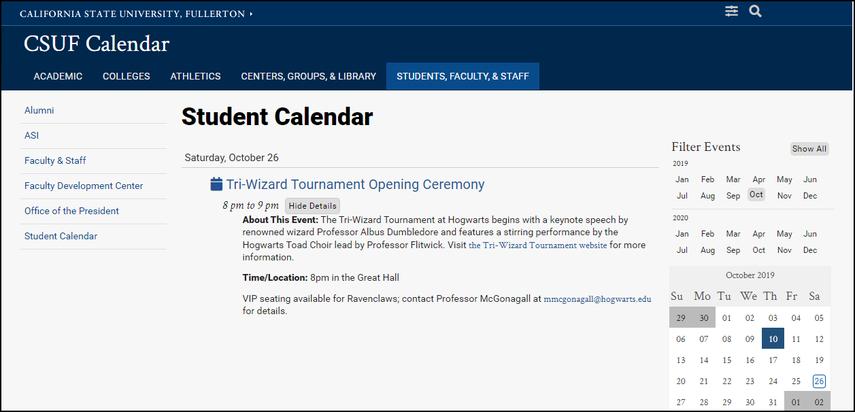 Event published on campus calendar