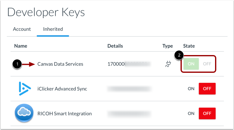 View Canvas Data Services Key