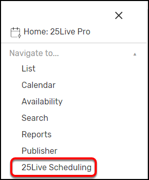 25Live Pro menu
