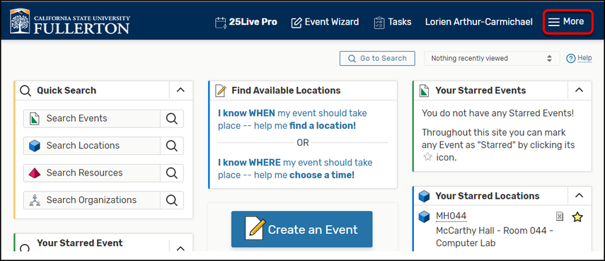 25Live Pro homepage