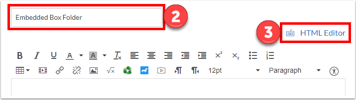 """Name the page and click """"HTML Editor"""""""