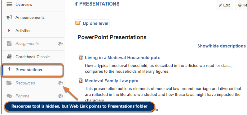 A hidden Resources tool and a Presentations link are shown in the Tool Menu, and the page with the files displays.