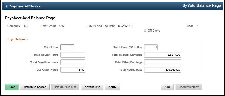 Paysheet Add Balance Page