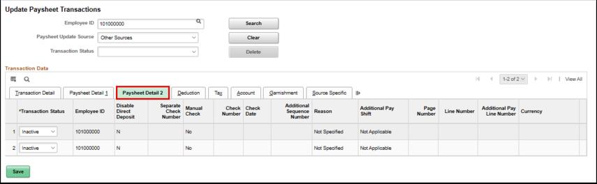 Paysheet Detail 2 tab
