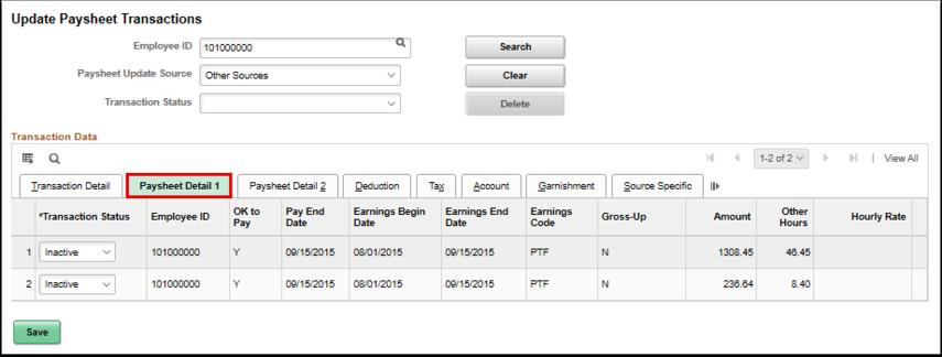 Paysheet Detail 1 tab
