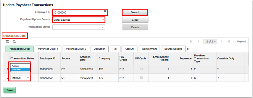 transaction detail tab udpates search results
