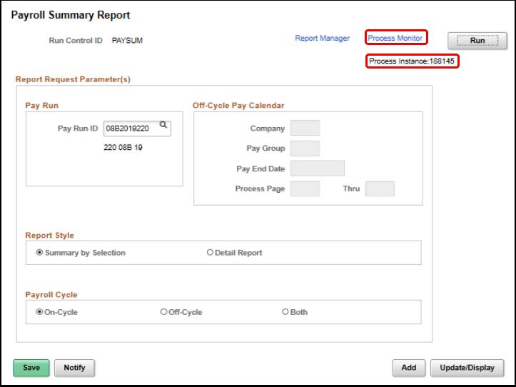 payroll summary report process monitor link