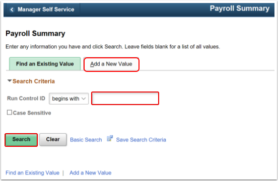 Payroll Summary Landing Page