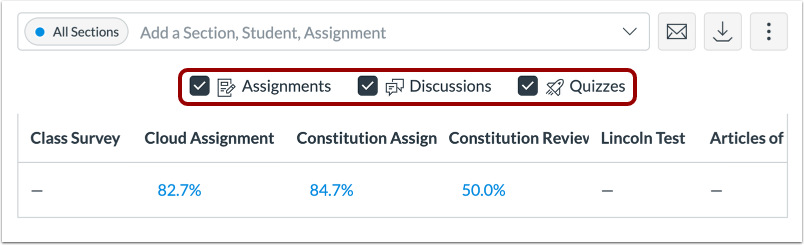 Filter by Assignment Type Enabled