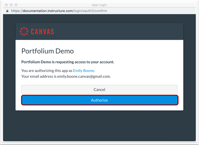 Authorize Canvas